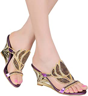 894a98d2ccb1 YooPrettyz Studded Slid Wedge Sandal Front Strap Wedding Shoes Evening  Party Prom Sandal