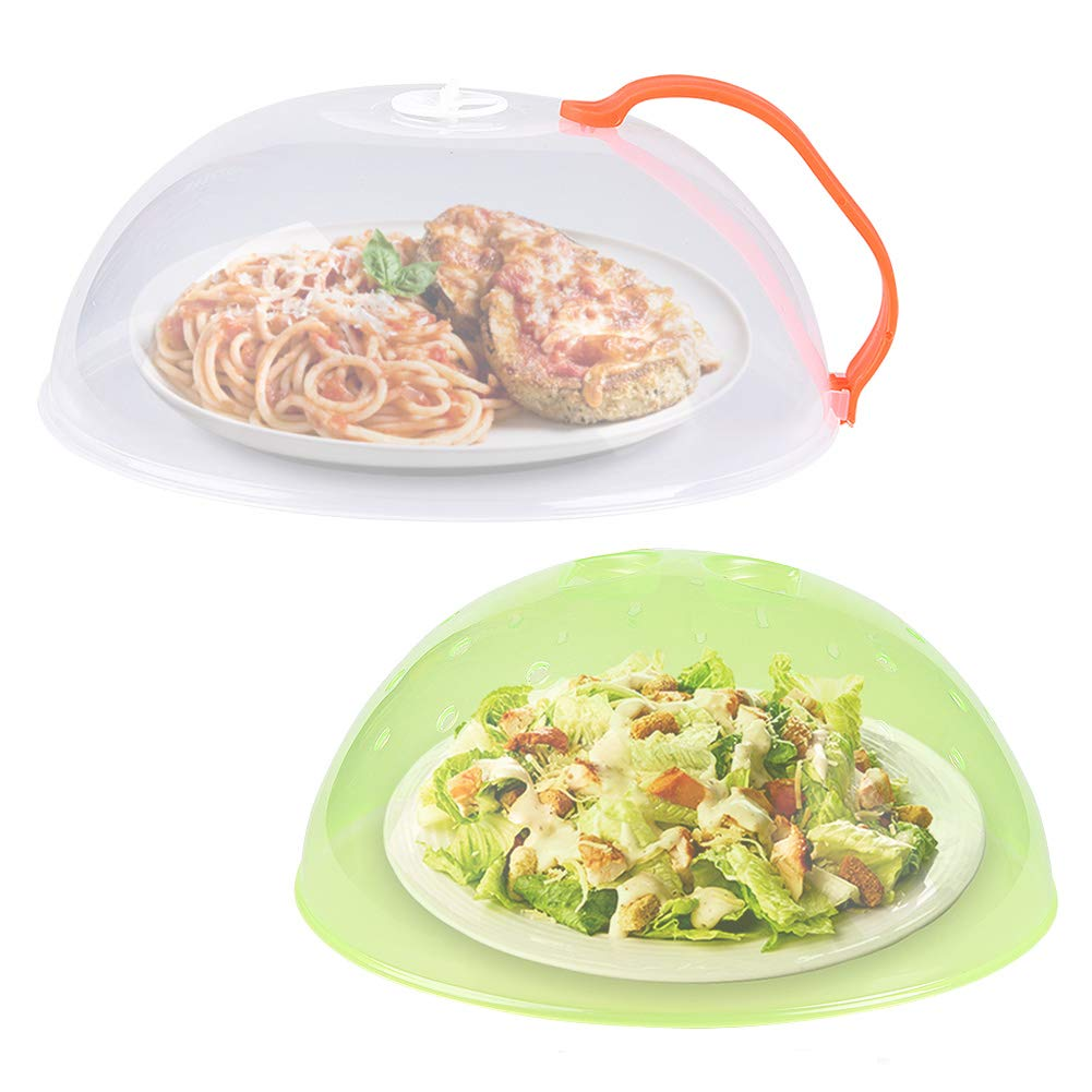 Microwave Plate Cover, Anti-Splatter Plate Lid with Steam Vents & Handle Microwave Food Cover, Food-Grade PP Material BPA-Free 2 Pack