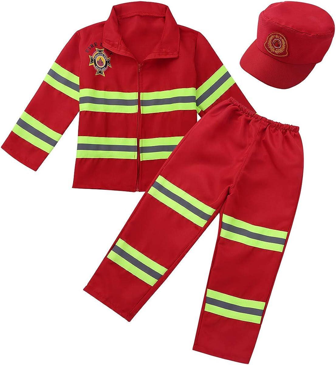 YiZYiF Kids Boys Girls Firefighter Costume Long Sleeve Jacket Pants Role Play Dress up Set