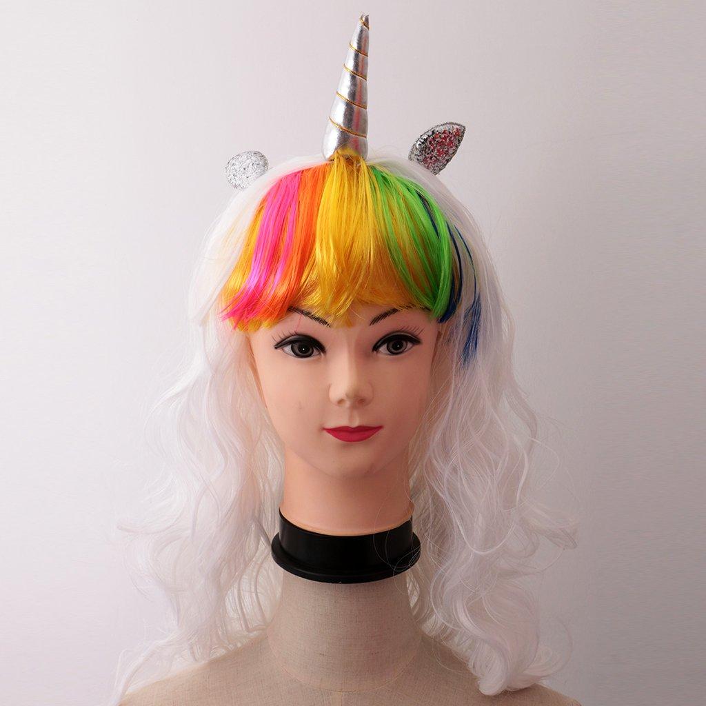 baoblaze Unicornio Cuerno pelucas con orejas pelo piezas larga rizado peluca para Halloween Fiesta Cosplay Disfraz: Amazon.es: Belleza