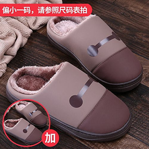 LaxBa Femmes Hommes chauds dhiver Chaussons peluche antiglisse intérieur Cotton-Padded Slipper chaussures Brown + brun40/41 + 40/41