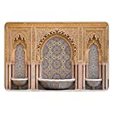Bathroom Bath Rug Kitchen Floor Mat Carpet,Moroccan Decor,Typical Moroccan Tiled Fountain in the City of Rabat Near the Hassan Tower,Flannel Microfiber Non-slip Soft Absorbent