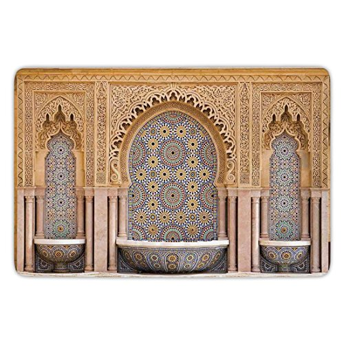 Bathroom Bath Rug Kitchen Floor Mat Carpet,Moroccan Decor,Typical Moroccan Tiled Fountain in the City of Rabat Near the Hassan Tower,Flannel Microfiber Non-slip Soft Absorbent by iPrint