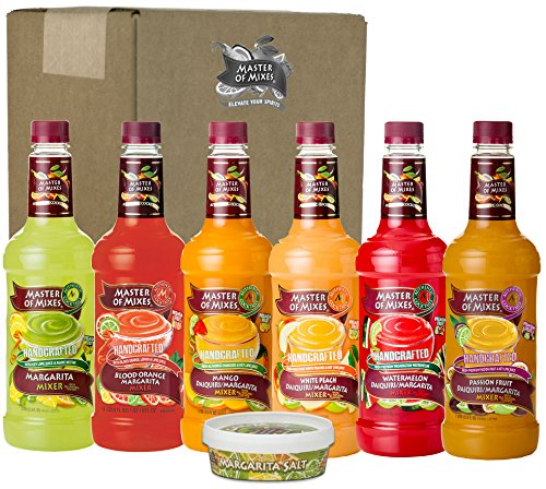 Master of Mixes Margarita/Daiquiri Drink Mixes Variety, Ready to Use, 1 Liter Bottles (33.8 Fl Oz), Pack of 6 Flavors + Margarita Salt (Margarita Mixer)