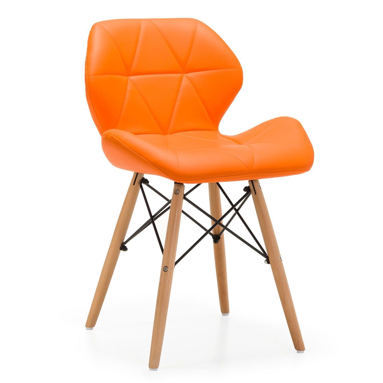 Pleasant Dhamaal Eames Replica Faux Leather Dining Chair Cafeteria Machost Co Dining Chair Design Ideas Machostcouk