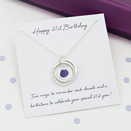 Personalized 21st Birthday Birthstone Necklace With Gift Card