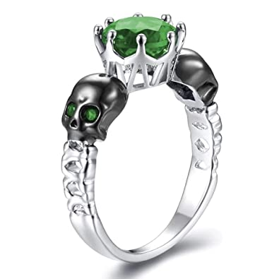 Gothic Wedding Rings.Fendina Women S Punk Gothic Wedding Rings Skull Colorful Cz Ring