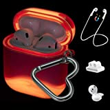 Qeenxbar 5 in 1 Protective Glow in The Dark Liquid Clear Hard PC Airpods Cover with AirPods Strap/Ear Hook/Watch Band Holder/Carabiner for Airpods 1 & 2(Front LED Visible)