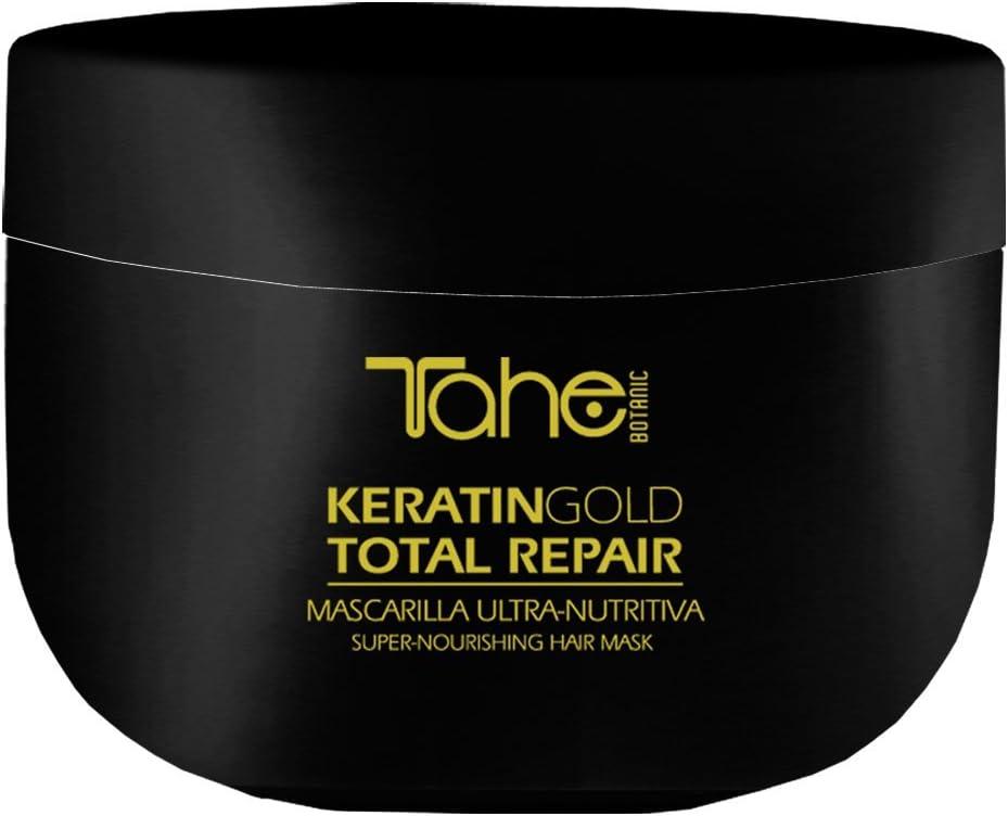 Tahe Botanic Mascarilla Total Repair Ultra-nutritiva/Mascarilla para el Pelo/Mascarilla para el Cabello con Keratina, Oro Líquido y Aceite de Argán, 300 ml