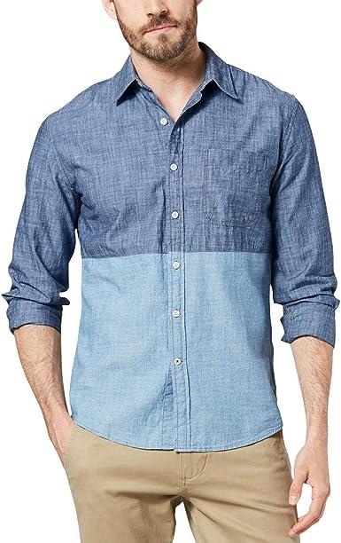 Dockers Mens Slim-Fit Color-Block Chambray Shirt: Amazon.es: Ropa y accesorios