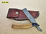 RZ-28, Custom Handmade Damascus Steel Straight Razor – Exotic Olive Wood and Doller Sheath Handle