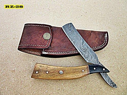 RZ-28, Custom Handmade Damascus Steel Straight Razor - Exotic Olive Wood and Doller Sheath Handle