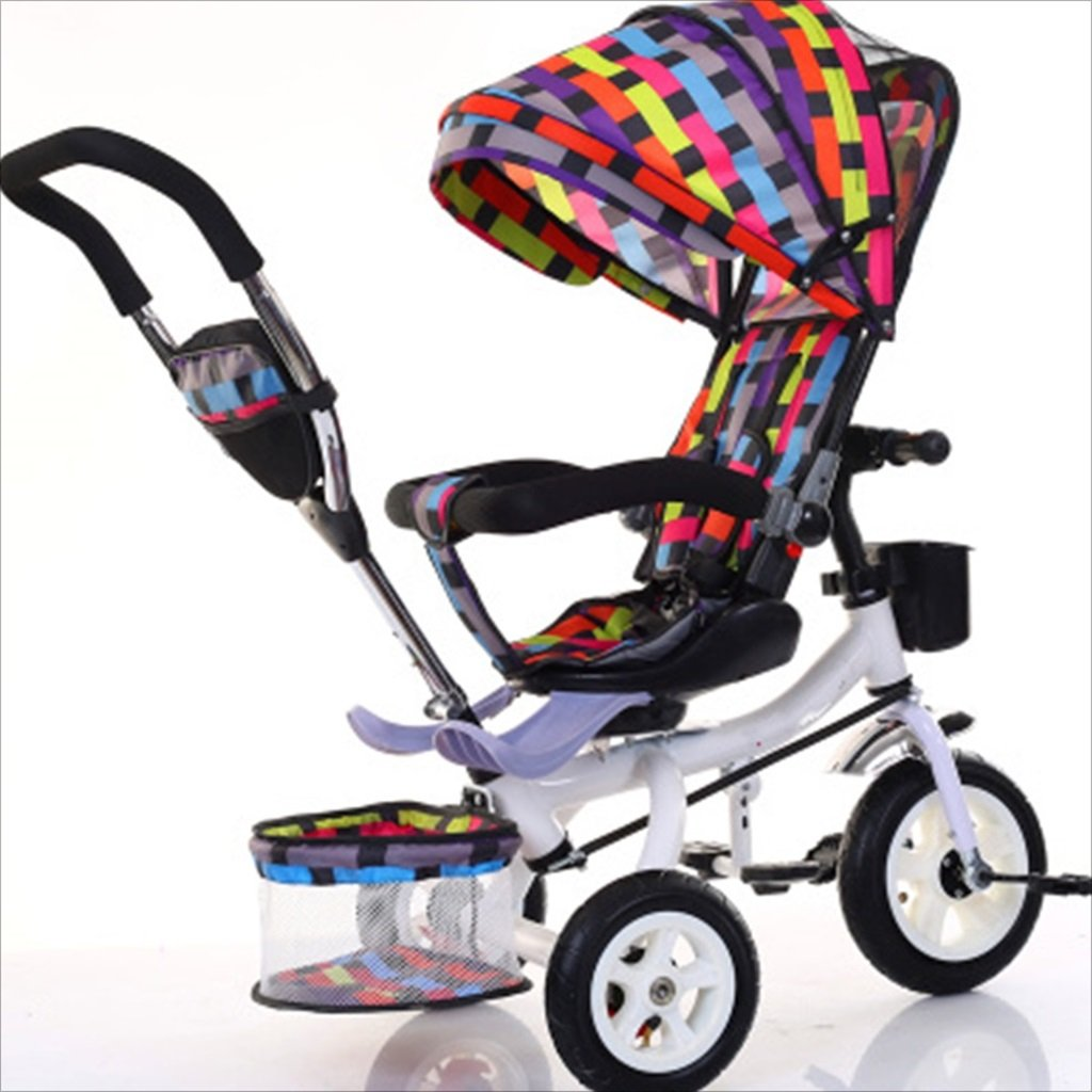 子供屋内屋外の小さな三輪車自転車の男の子の自転車の自転車6ヶ月-5歳の赤ちゃんの3つのホイールトロリー、ダンピング/回転シート/インフレータブルホイール (色 : 2) B07DVG9JQN2