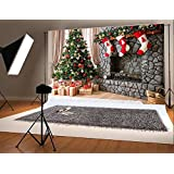 10ft(w)x6.5ft(h) Christmas Backdrops for Photography for Children Christmas Tree & Three Gift Socks Hang Fireplace Photo Background