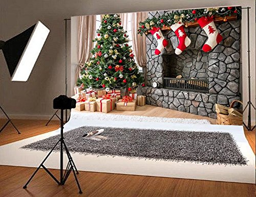 7x5 ft Christmas Photography Backdrop for Children Christmas Tree and Three Gift Socks Hang Fireplace Photo (Winter Scene Backdrops)