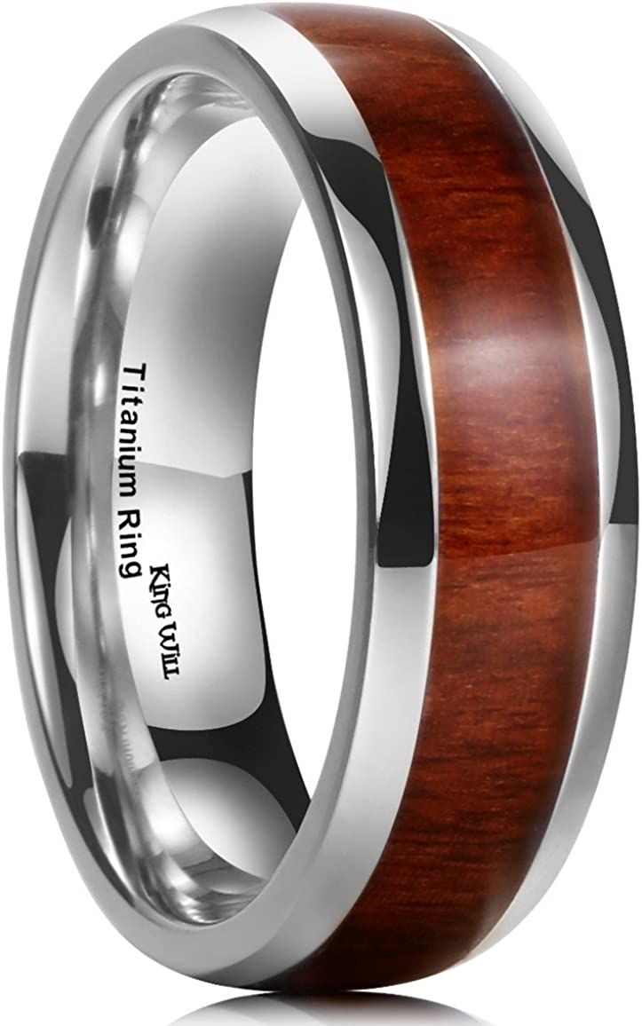 King Will Nature 7mm/8mm Titanium Ring Koa Wood Inlay Comfort Fit Wedding Band for Men Women Silver/Rose Gold