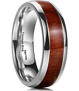Titanium Ring Wedding Band Engagement Ring with Real Wood Inlay