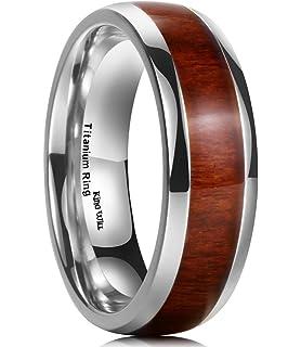 king will nature 7mm titanium ring koa wood inlay comfort fit wedding band for men women - Koa Wood Wedding Rings