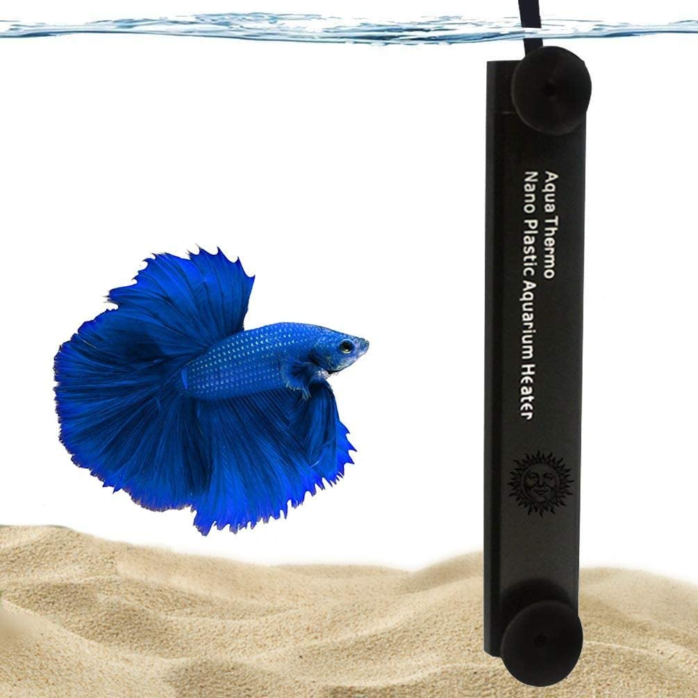 SunGrow Halfmoon Betta Heater, 10 Watts, for Small Tanks, Fully Submersible Aquarium Heater, Automatically Reaches Preset Temperature, Energy-Efficient Heating Module, Suction Cups Included