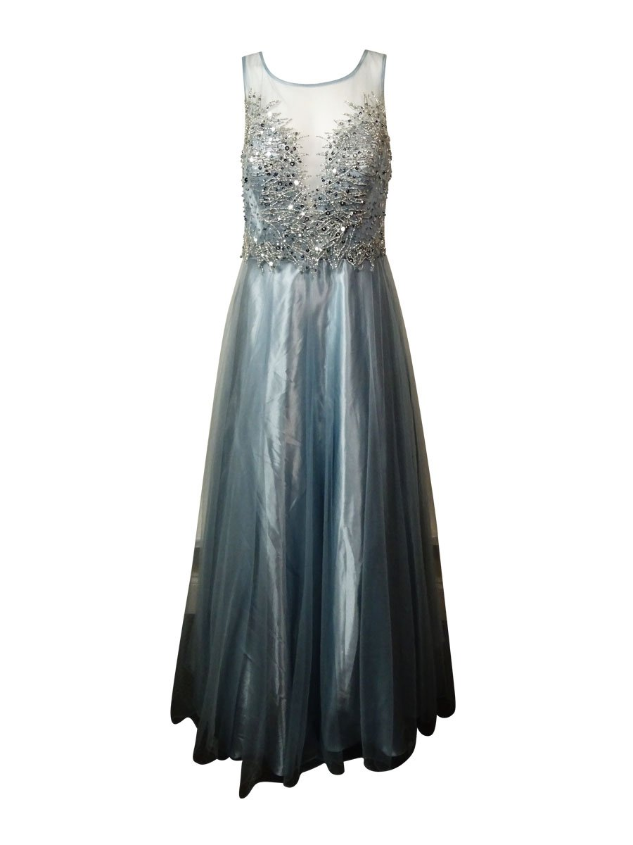 Betsy & Adam Woman's Embellished Dress (12, Heather Sky Silver)