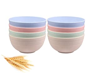 Unbreakable Cereal Bowls - 24 OZ Wheat Straw Fiber Lightweight Bowl Sets 8 - Dishwasher & Microwave Safe - for,Rice,Soup Bowls