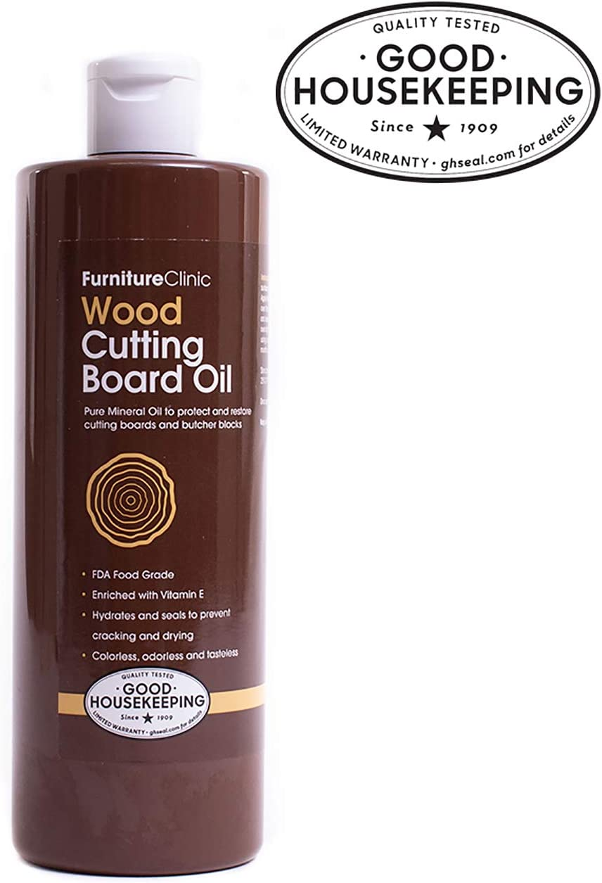 Furniture Clinic Mineral Oil for Cutting Boards - Food Grade Cutting Board Oil to Protect, Condition & Restore Cutting Boards, Butcher Blocks and Countertops (17 oz)