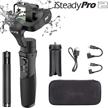 Hohem iSteady Pro 2 Gimbal Stabilizer for Action Camera Gopro Hero 7//6//5//4//3+//3,Sony RX0,Yi CAM 4K,AEE,SJCAM,dji OSMO Action,Splashwaterproof,with Extension Rod and Tripod