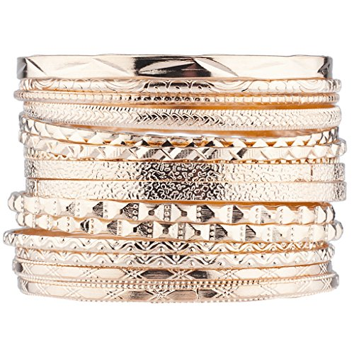 Multi Bangle Set - Lux Accessories Rose Gold Tone Aztec Etched Cased Multi Bangle Set of 15