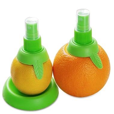 "Lemon sprayer gadget, Citrus Sprayer Set, 2pcs, in 3.9"" & 3.3"", Holder Plate, Lime Juicer Extractor for Vegetables, Salads, Seafood and Cooking Fashionable Kitchen Gadget BLUETOP"