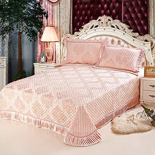 A 260X245cm KE & LE Style Européen Luxueuse Jupe De Lit, élégante Confortable sur-Matelas Décoration 3 Pièces Lit Couverture avec 2 Couvre-oreillers-a 260x245cm