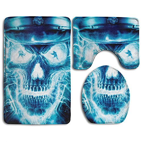 Flames Skid Lid - DING Blue Flames Skull Soft Comfort Flannel Bathroom Mats,Anti-Skid Absorbent Toilet Seat Cover Bath Mat Lid Cover,3pcs/Set Rugs