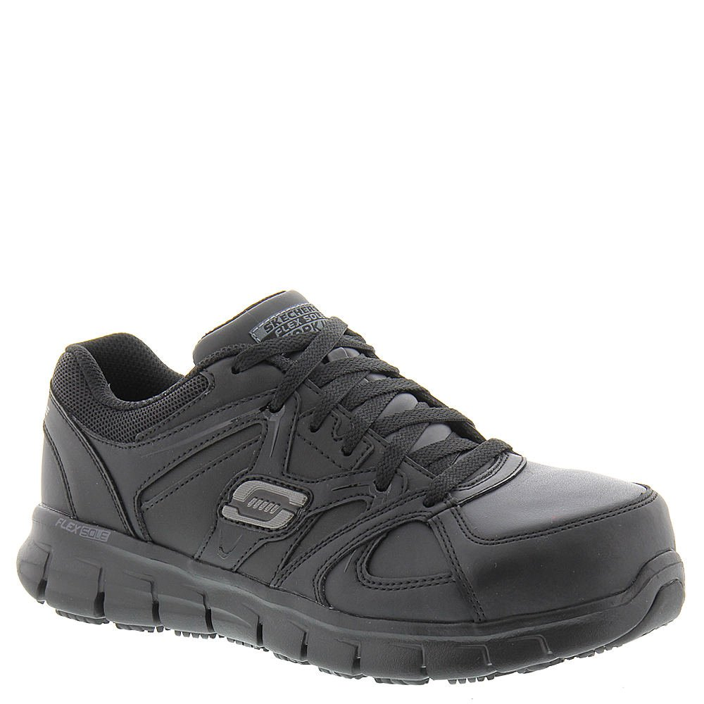 Black Skechers for Work Women's 76553 Synergy Sandlot Steel Toe Lace-Up Work shoes