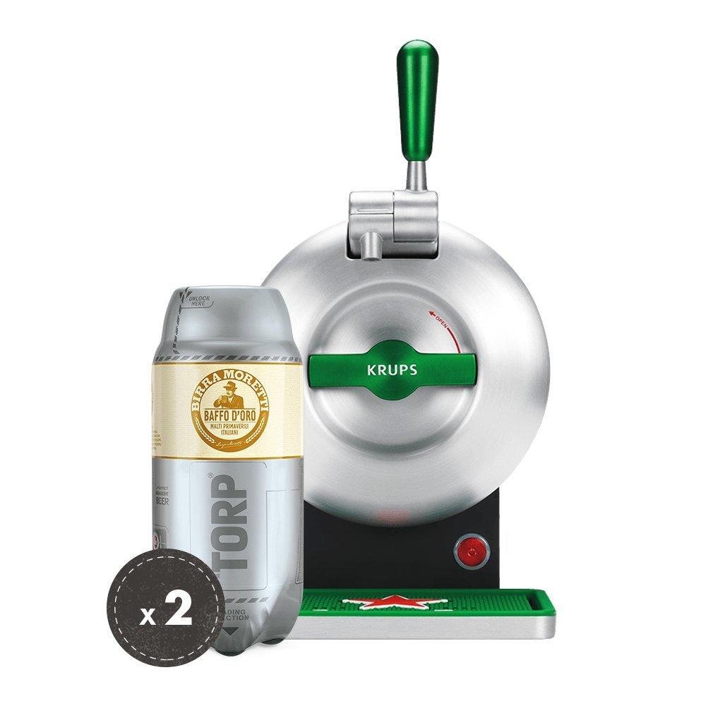 Birra Moretti THE SUB Set Spillatura Domestica | THE SUB Spillatore Birra da Casa, Edizione Heineken | 2 x TORP Birra Moretti Fustini di Birra da 2 Litri