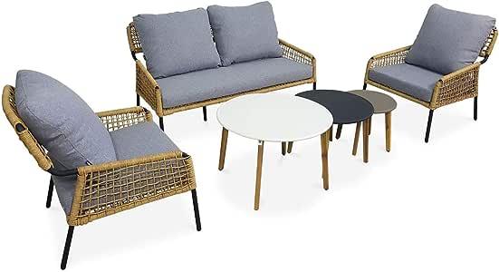 Alices Garden Conjunto de sofá de jardín de 4 plazas Komodo de 2 plazas y 2 sillones con 3 mesas Nido de Resina Trenzada Efecto bambú, Cojines Gris Claro Jaspeado: Amazon.es: Jardín