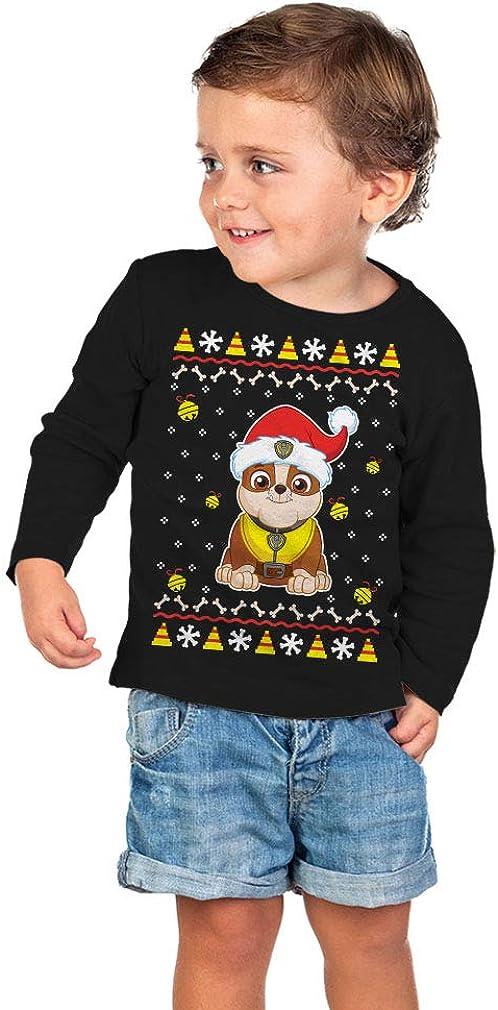 Paw Patrol Ugly Christmas Rubble Santa Bell Toddler//Kids Long Sleeve T-Shirt