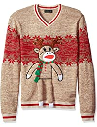 Men's Reindeer Monkey Crew Neck Ugly Xmas