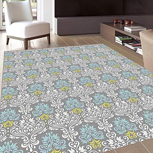 4004 Area Rug - Rug,FloorMatRug,Grey Blue,AreaRug,Traditional Colorful Damask Pattern with Floral Elements on Greyscale Background,Home mat,5'x8'Multicolor,RubberNonSlip,Indoor/FrontDoor/KitchenandLivingRoom