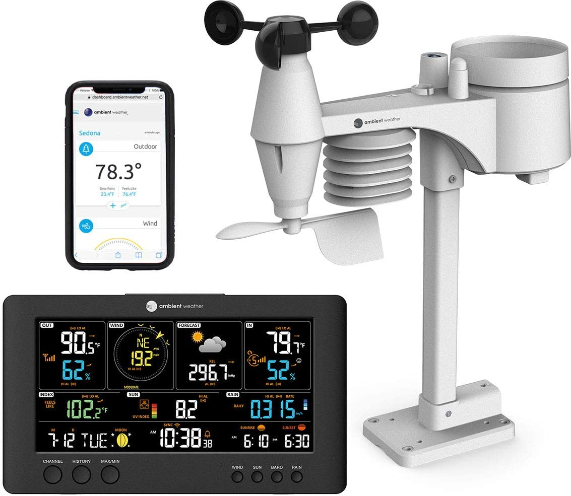 Ambient Weather WS-7079 Smart Weather Station w/WiFi Remote Monitoring and Alerts, High Definition Display