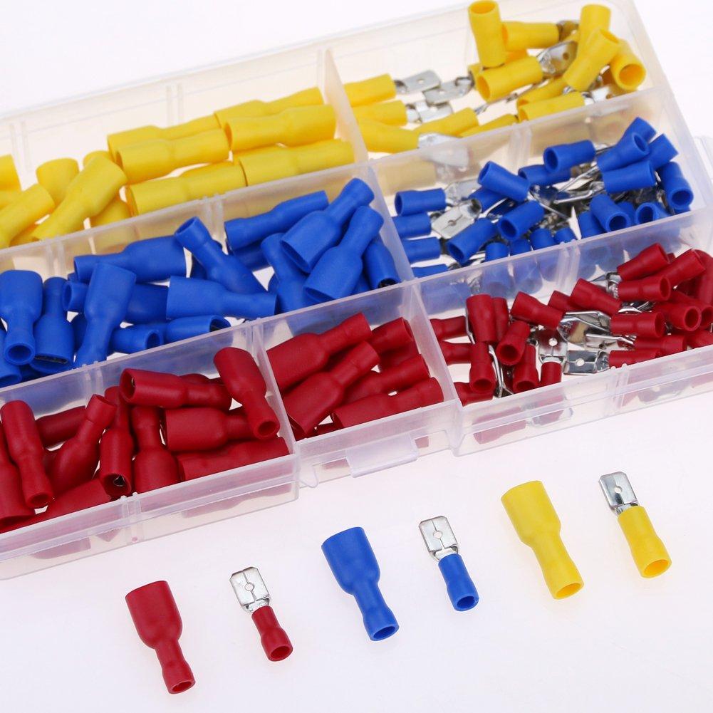 Glarks 160pcs 22-16 / 16-14 / 12-10 Gauge Fully-Insulated Male / Female Spade Quick Splice Crimp Terminals Connectors Assortment Kit