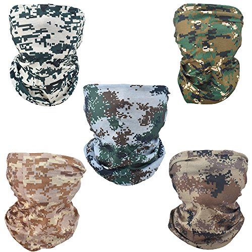 YD Cloud 5 PCS Riding Face Mask For Motorcycles, Fishing, Hiking, Running, Skiing, Cycling, Halloween; Seamless Magic Scarf ,headbands tube (Camouflage) -