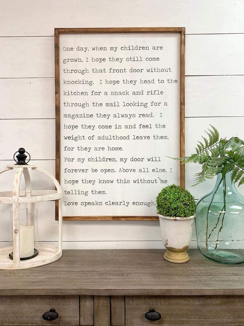 EricauBird One Day When My Children are Grown Custom Framed Wood Sign Home Decor Sign, Wall Plaques Art, Rustic Signs with Sayings, 12x22