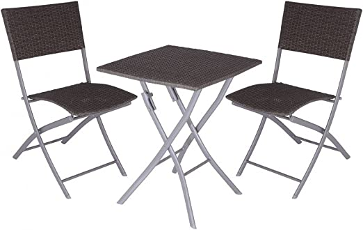 Koopman Alu Gartenmobel Set Tisch 60x60cm 2 Rattan Stuhle Klappbar Amazon De Kuche Haushalt