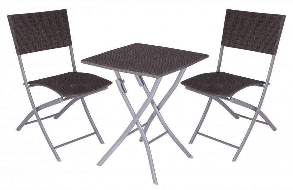 Alu Gartenmöbel Set Tisch 60x60cm 2 Rattan Stühle Balkon Klappbar