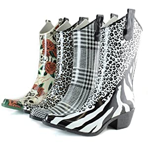DailyShoes Cowboy Rose Skull Floral Prints High Heel Rain Boots, Rose Skull, 7 B(M) US,7 B(M) US