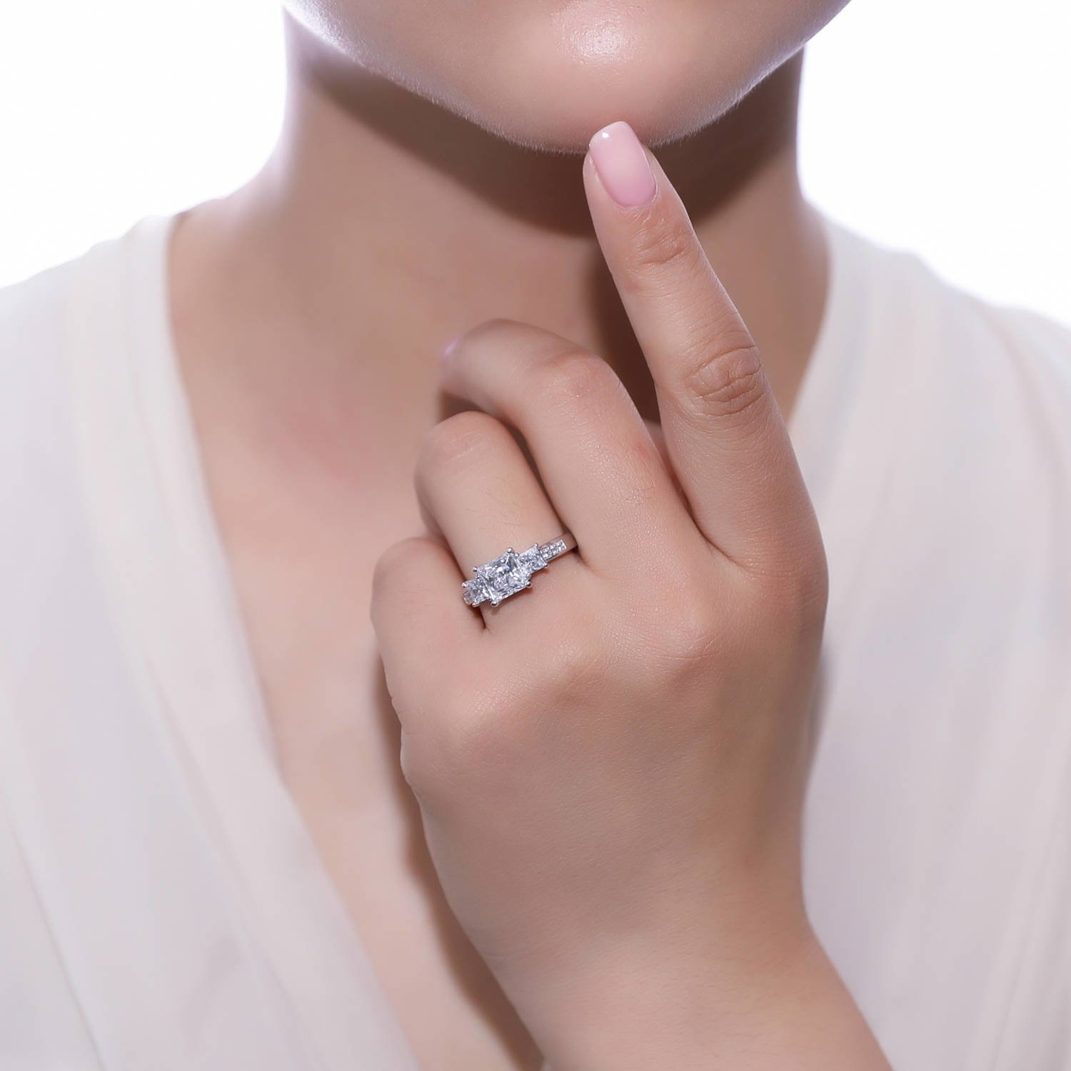 BERRICLE Rhodium Plated Sterling Silver Princess Cut Cubic Zirconia ...