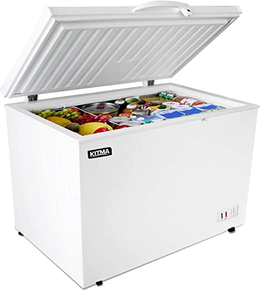 Amazon Com Commercial Top Chest Freezer Kitma 7 Cu Ft Deep Ice Cream Freezer With Adjustable Thermostat Rollers Solid Door White Appliances