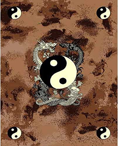 Mybecca New Fun Theme Dragon YIN-YANG Style Area Rugs Contemporary Carpet 5' x 7' approximate 5'2″ X 6'11″