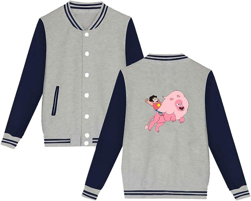 BESTHOO Unisex Steven Universe Felpe Manica Lunga Mode Giacca da Baseball  Stile College Popolare Sweatshirt per Uomo e Donne 2042d5f036ab