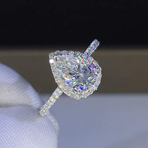 Pear Halo Moissanite Engagement Ring 1.0 Carat 2.0 Carats Colorless VVS1 14K 18K White Gold Rose Gold Yellow Gold Platinum