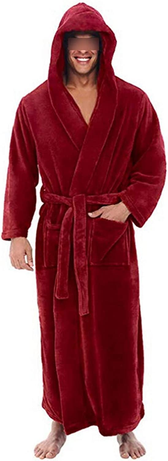 Mens Bathrobe Winter Lengthened Plush Shawl Comfortable Bathrobe Home Clothes Long Sleeved Robe Coat Red